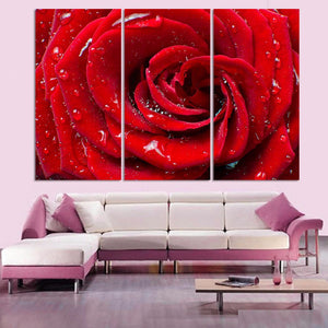 Red Rose & Water Droplets 3 Piece HD Multi Panel Canvas Wall Art Frame