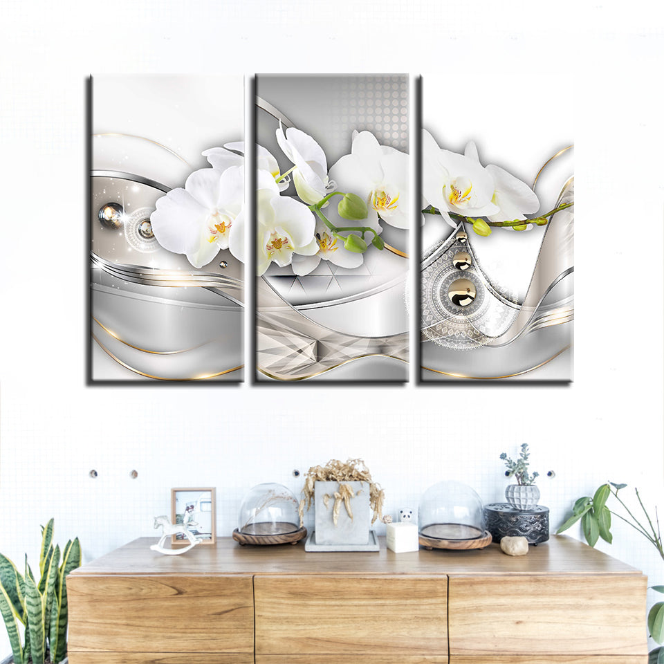 White Flower 3 Piece HD Multi Panel Canvas Wall Art Frame