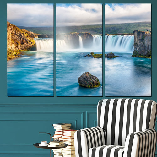 Waterfall Blue River 3 Piece HD Multi Panel Canvas Wall Art Frame