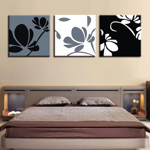 Abstract Flower Pattern 3 Piece HD Multi Panel Canvas Wall Art Frame