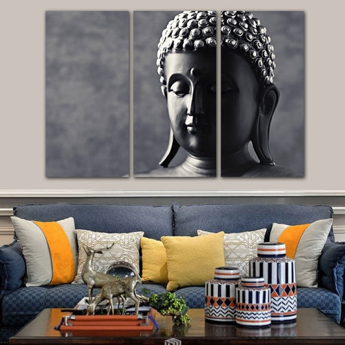 Peaceful Buddha 3 Piece HD Multi Panel Canvas Wall Art Frame