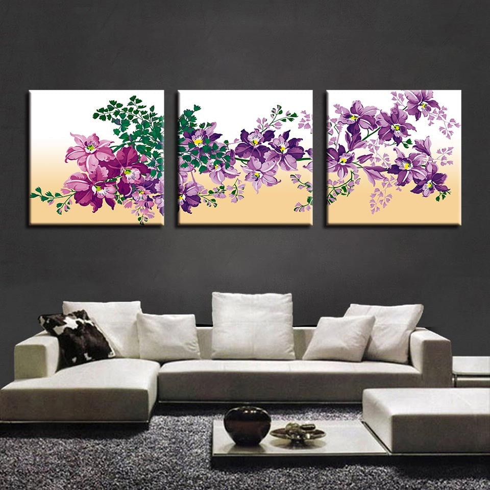 Purple Flowers 3 Piece HD Multi Panel Canvas Wall Art Frame