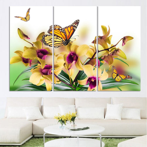 Yellow Orchid Flowers 3 Piece HD Multi Panel Canvas Wall Art Frame