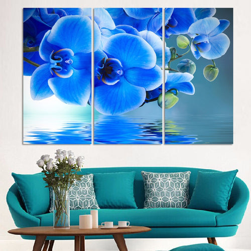 Blue Moth Orchid 3 Piece HD Multi Panel Canvas Wall Art Frame