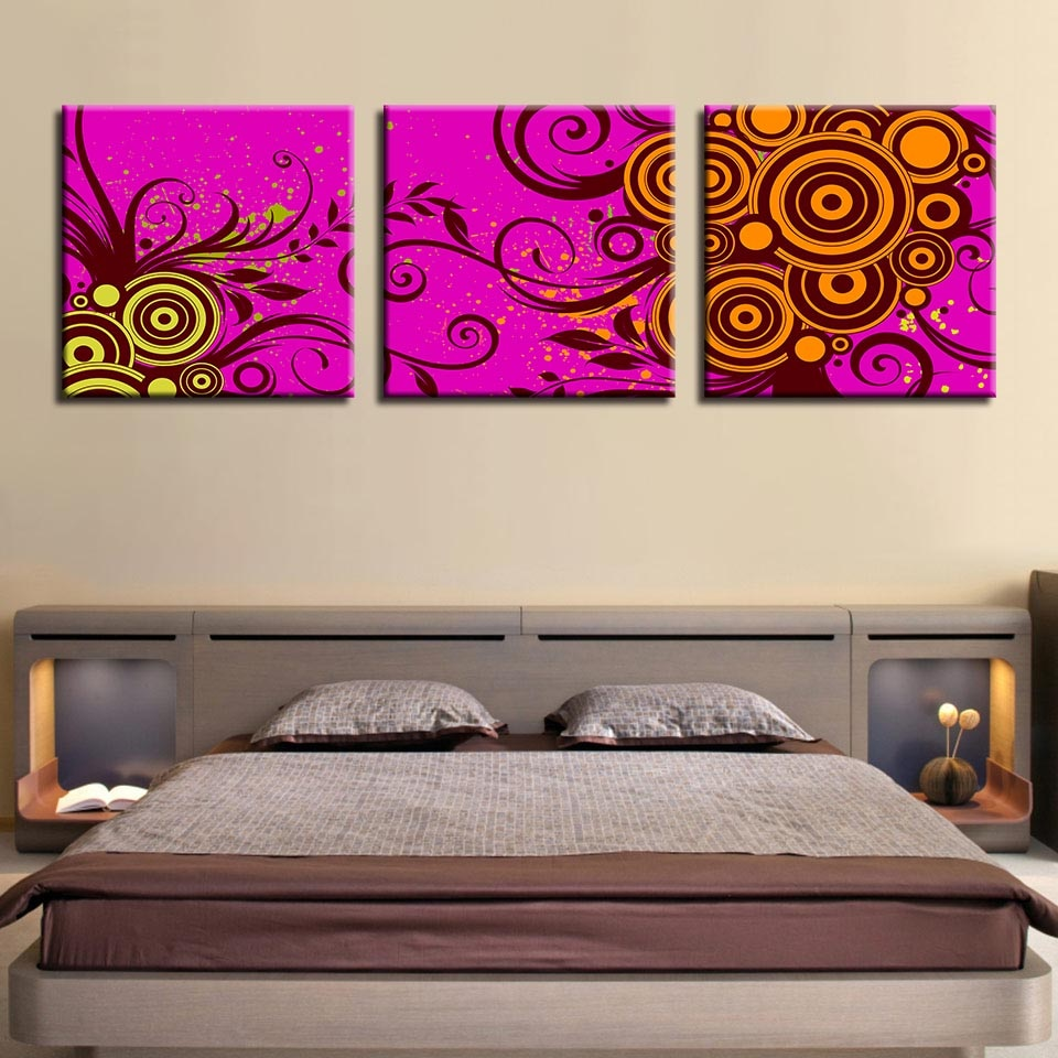 Flower Pattern 3 Piece HD Multi Panel Canvas Wall Art Frame
