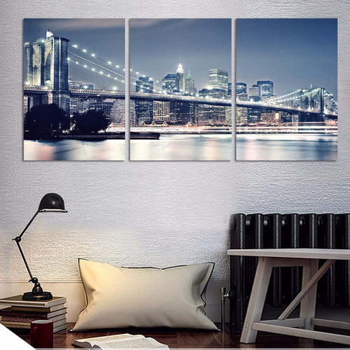 Brooklyn Bridge City Night View 3 Piece HD Multi Panel Canvas Wall Art Frame