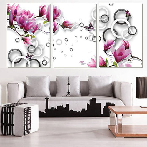 Purple Magnolia Flower 3 Piece HD Multi Panel Canvas Wall Art Frame