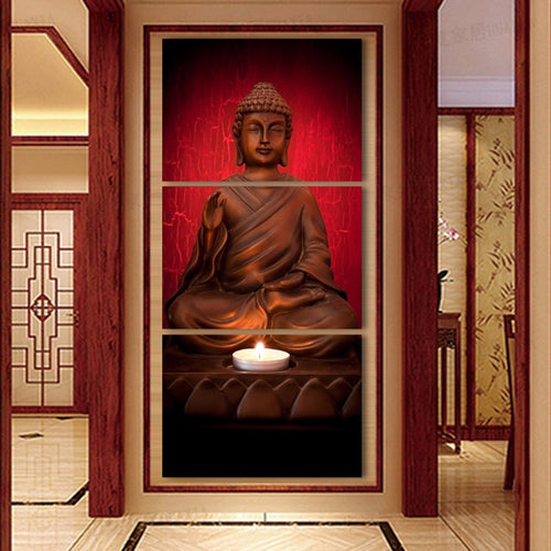 Buddha Statue 3 Piece HD Multi Panel Canvas Wall Art Frame