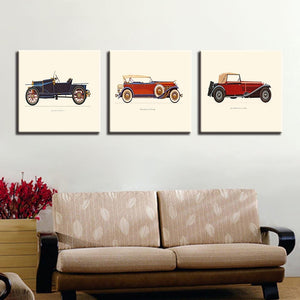 Vintage Car 3 Piece HD Multi Panel Canvas Wall Art Frame