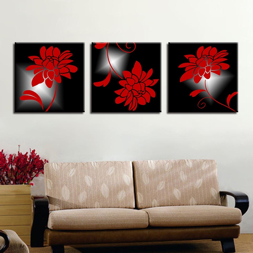 Amazing Red Flowers 3 Piece HD Multi Panel Canvas Wall Art Frame