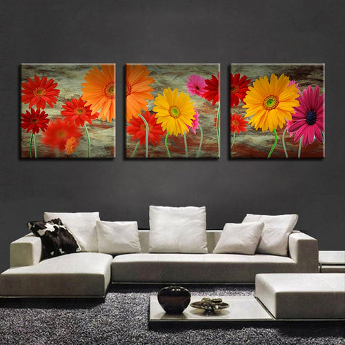 Daisy Flowers 3 Piece HD Multi Panel Canvas Wall Art Frame