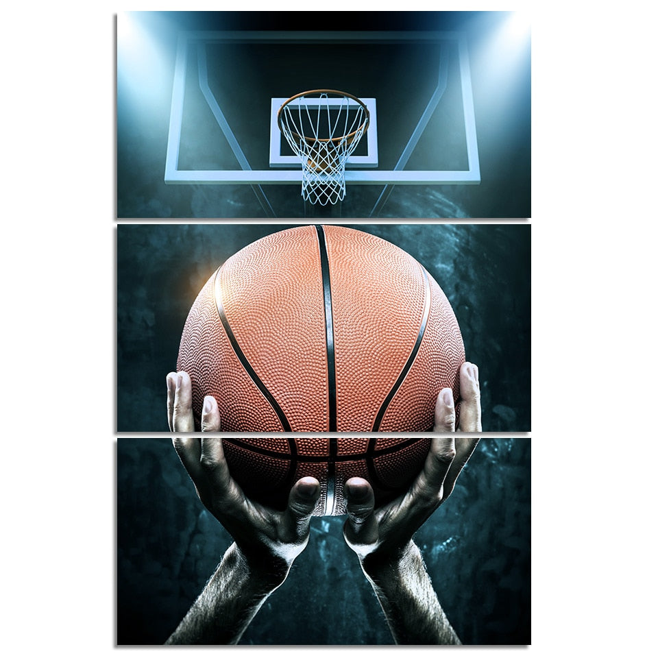 Basketball And Ball Boxes 3 Piece HD Multi Panel Canvas Wall Art Frame