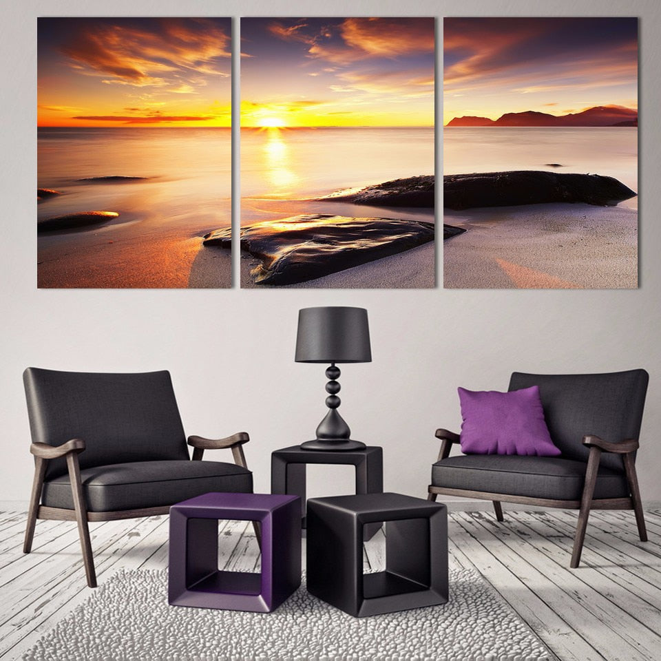 Sunshine Beach 3 Piece HD Multi Panel Canvas Wall Art Frame