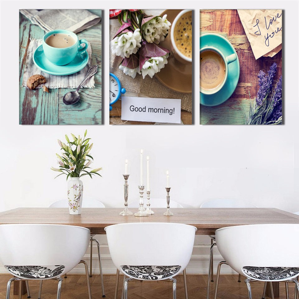 Exquisite Coffee Cup 3 Piece HD Multi Panel Canvas Wall Art Frame