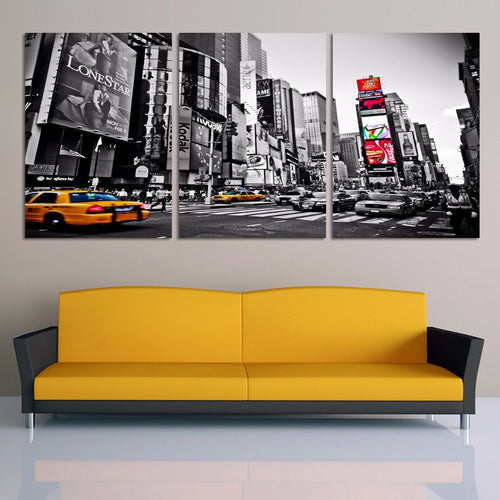 Bustling City Streetscape 3 Piece HD Multi Panel Canvas Wall Art Frame