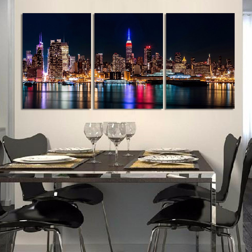 New York City Nightscape 3 Piece HD Multi Panel Canvas Wall Art Frame