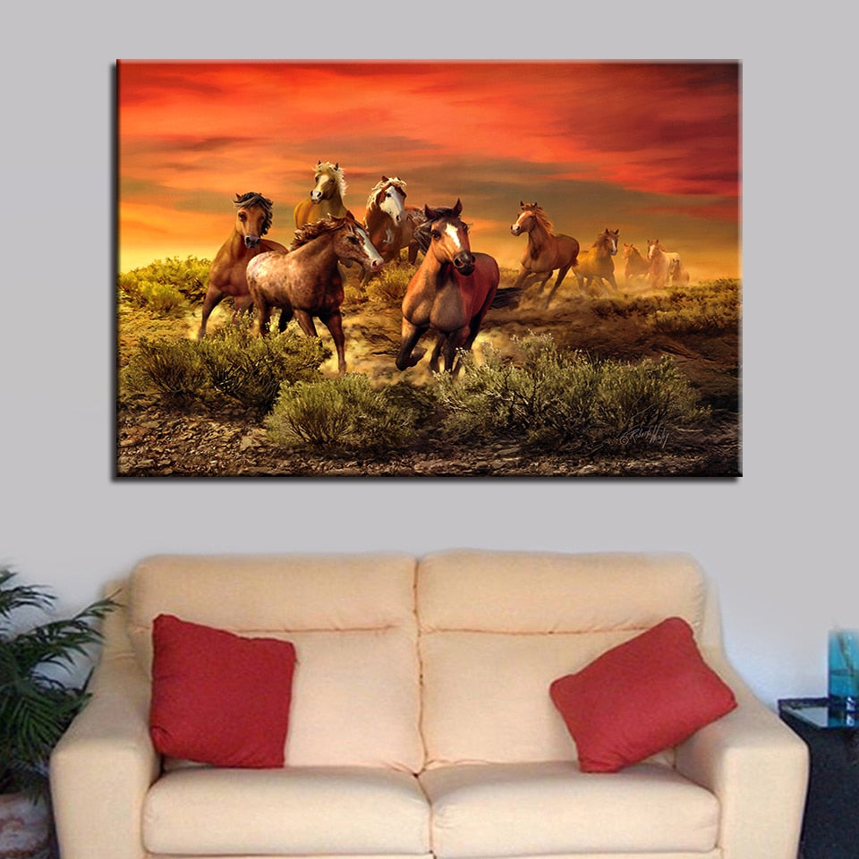 Sunset Horses 1 Piece HD Multi Panel Canvas Wall Art Frame