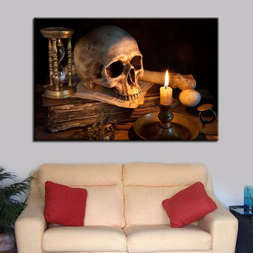 Skull Burning Candle 1 Piece HD Multi Panel Canvas Wall Art Frame