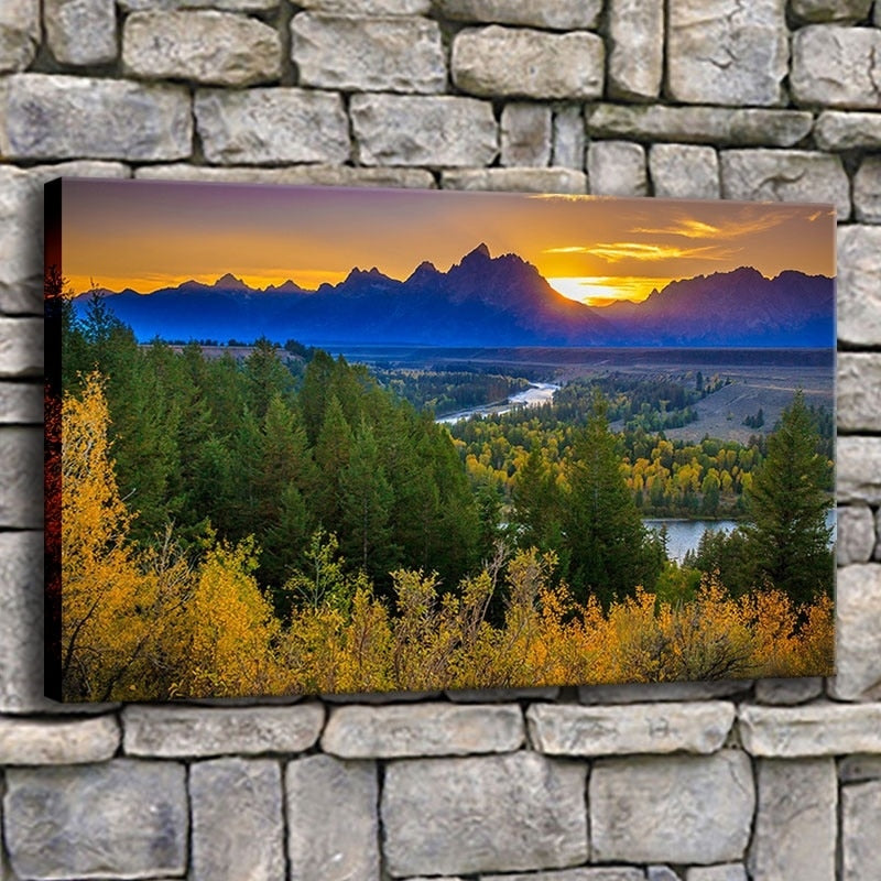 Rivers Range Autumn 1 Piece HD Multi Panel Canvas Wall Art Frame