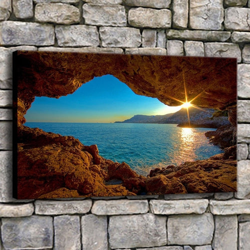 Sunset Beach 1 Piece HD Multi Panel Canvas Wall Art Frame