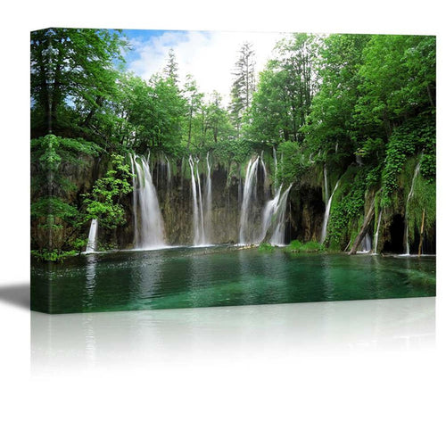National Park of Croatia Waterfall 1 Piece HD Multi Panel Canvas Wall Art Frame