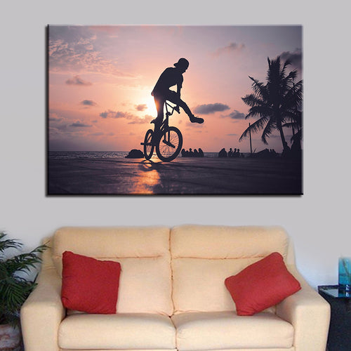 Beach Cyclist 1 Piece HD Multi Panel Canvas Wall Art Frame