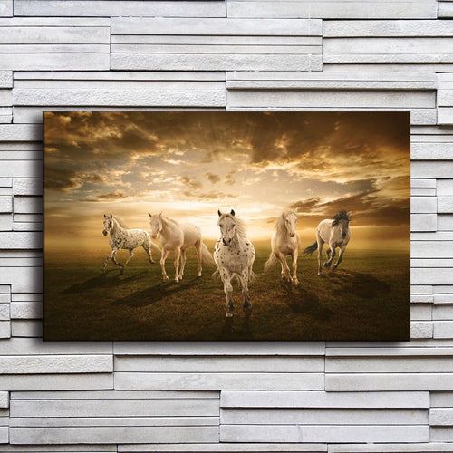Sunset Light Horses 1 Piece HD Multi Panel Canvas Wall Art Frame