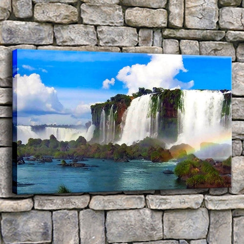 Beautiful Rainbow Waterfall 1 Piece HD Multi Panel Canvas Wall Art Frame