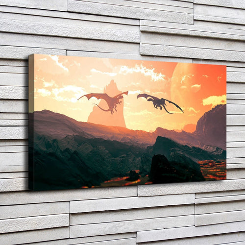 Fantasy Dragons 1 Piece HD Multi Panel Canvas Wall Art Frame