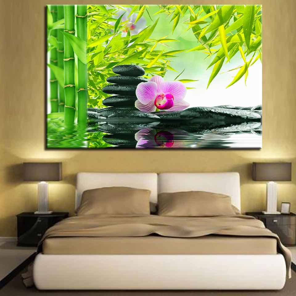 Stones & Flowers 1 Piece HD Multi Panel Canvas Wall Art Frame