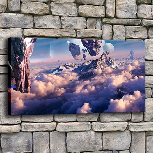Mountain In Clouds 1 Piece HD Multi Panel Canvas Wall Art Frame