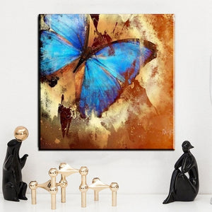 Modern Canvas Printed Painting Frame 1 Piece/Pcs Blue Butterfly Pictures Wall Art Abstract Animal Poster Living Room Home Decor