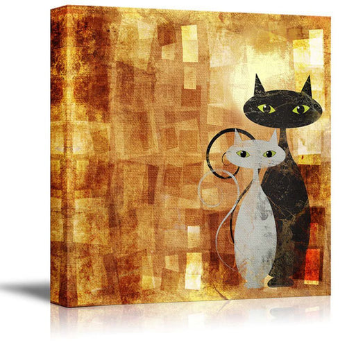 Modular Wall Art Pictures 1 Panel Black And White Abstract Cat Canvas Painting Home Decor Prints Cartoon Poster For Kids Room