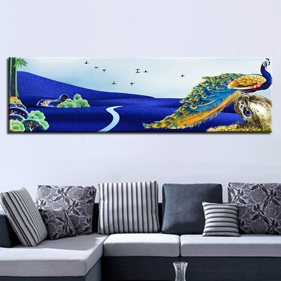Peacock Print 1 Piece HD Multi Panel Canvas Wall Art Frame