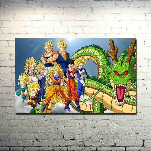 Dragon Ball Z Super 1 Piece HD Multi Panel Canvas Wall Art Frame
