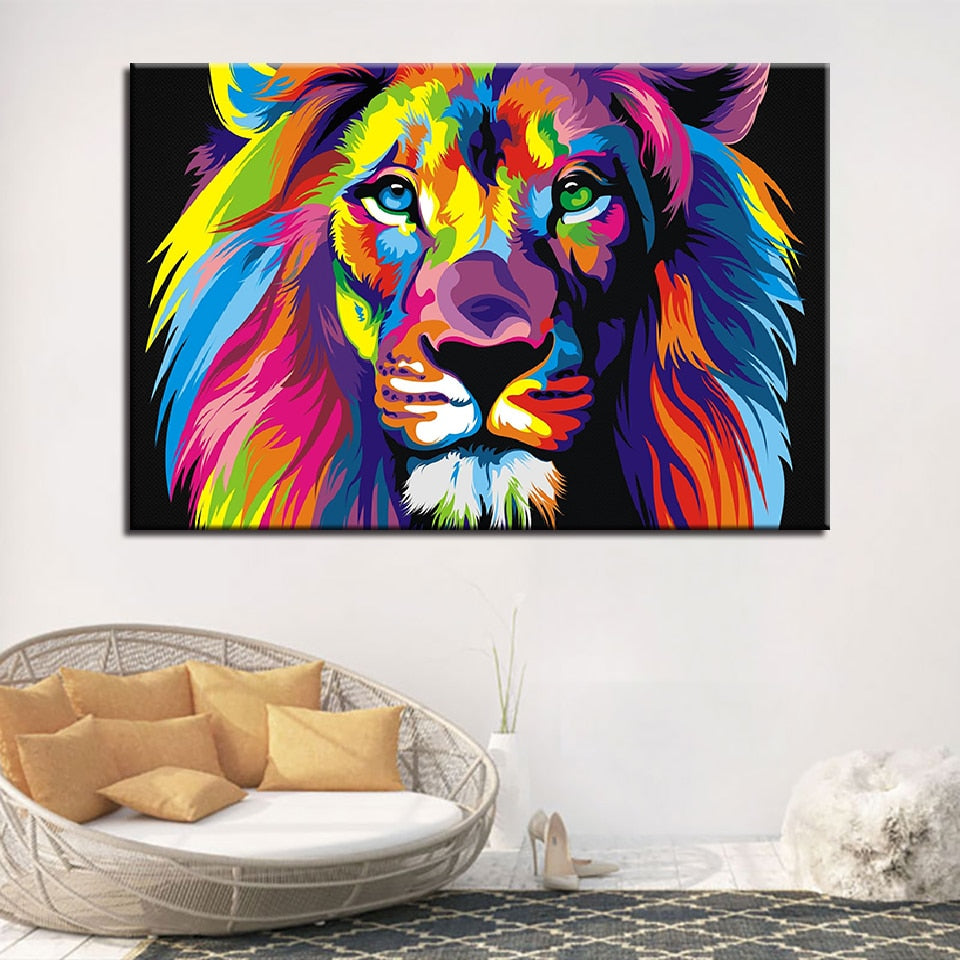 Lion Colors 1 Piece HD Multi Panel Canvas Wall Art Frame