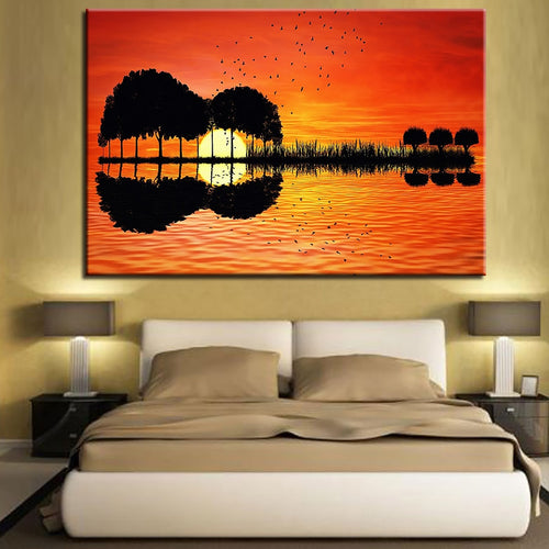 Lake Sunset 1 Piece HD Multi Panel Canvas Wall Art Frame