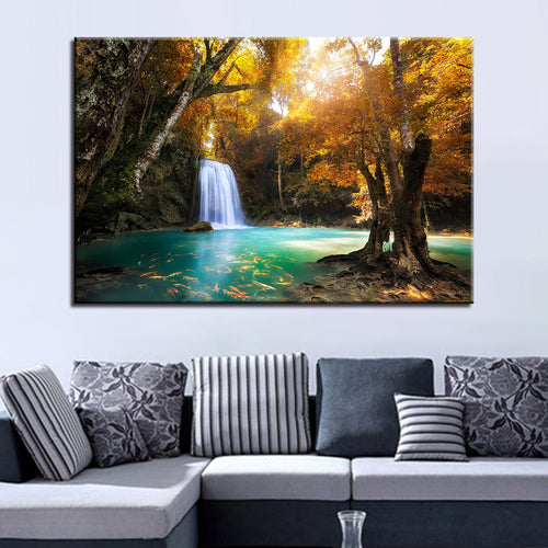 Waterfall Lake 1 Piece HD Multi Panel Canvas Wall Art Frame