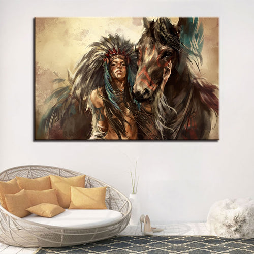 American Indian Girl 1 Piece HD Multi Panel Canvas Wall Art Frame