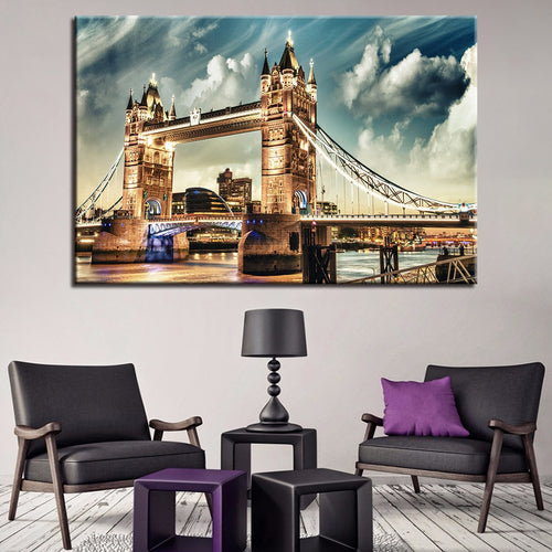 Colorful City Night View 1 Piece HD Multi Panel Canvas Wall Art Frame
