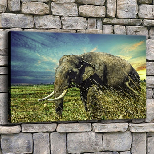 Elephant Grazing 1 Piece HD Multi Panel Canvas Wall Art Frame