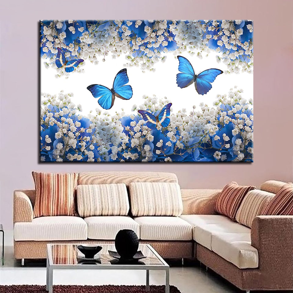 Blue Butterflies 1 Piece HD Multi Panel Canvas Wall Art Frame
