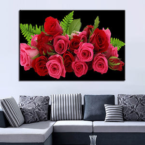 Pink Flower 1 Piece HD Multi Panel Canvas Wall Art Frame