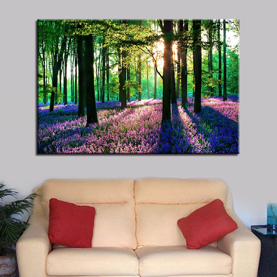 Forest Lavender 1 Piece HD Multi Panel Canvas Wall Art Frame