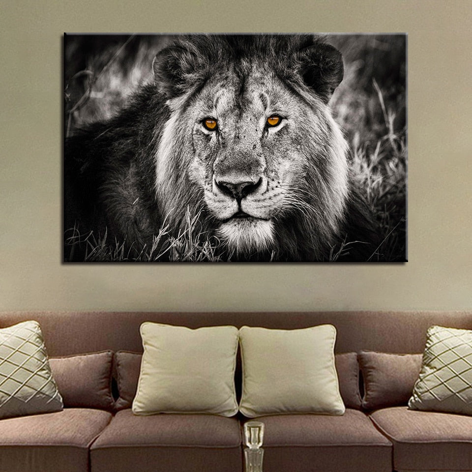 Yellow Eyed Lion 1 Piece HD Multi Panel Canvas Wall Art Frame