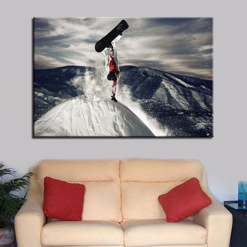Mountain Skiing 1 Piece HD Multi Panel Canvas Wall Art Frame