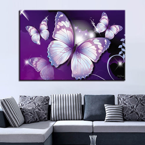 HD Prints Canvas Poster Home Decor Pictures 1 Piece/Pcs Beautiful Purple Butterflies Painting For Living Room Wall Art Framework