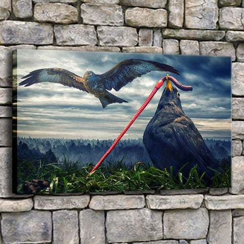 Eagle Eating Earthworm 1 Piece HD Multi Panel Canvas Wall Art Frame