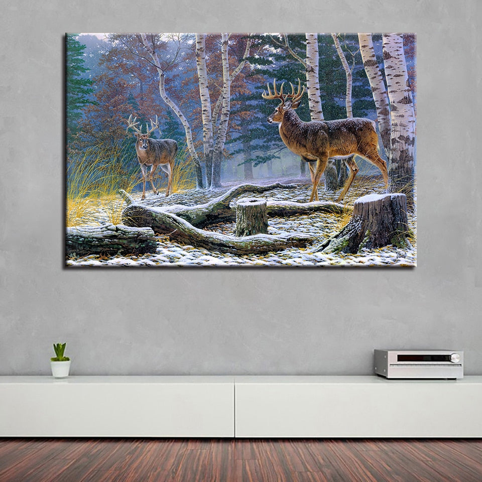 Deer Painting 1 Piece HD Multi Panel Canvas Wall Art Frame