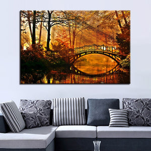 Sun Shining Bridge 1 Piece HD Multi Panel Canvas Wall Art Frame